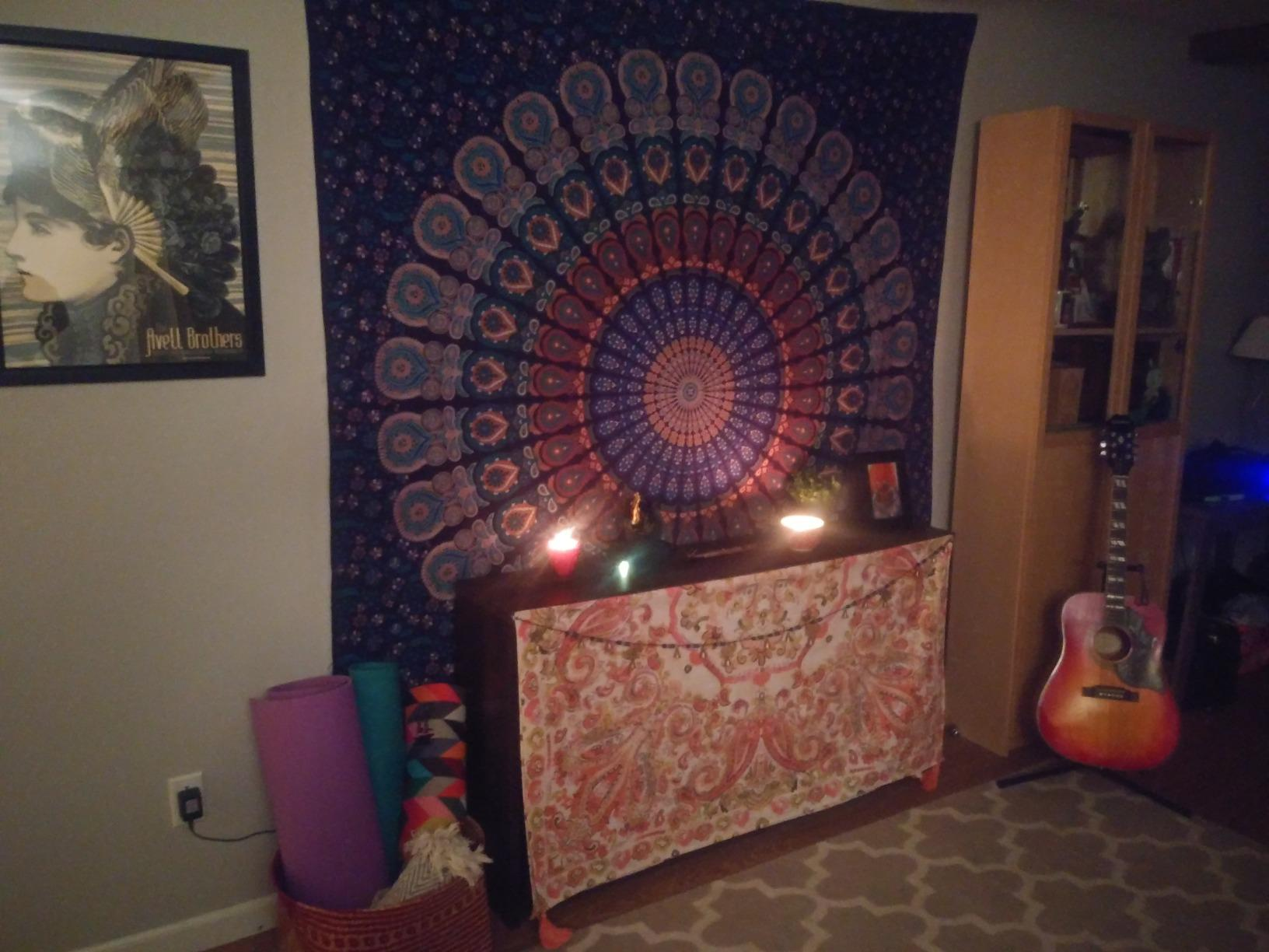Perfect addition to my meditation space!!! I absolutely LOVE this. The fabric is sturdy, vibrant, and beautiful. It makes for a wonderful addition to my meditation space as a wall tapestry, but it would also make a beautiful bed covering.