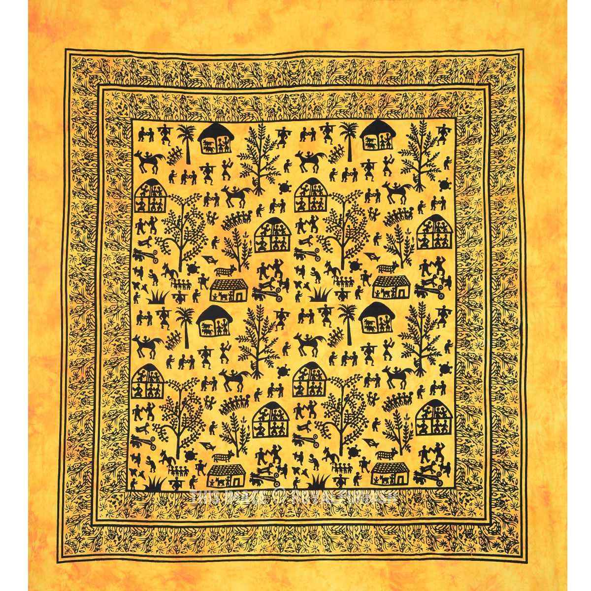 Yellow Animal Indian Tie Dye Hippie Cotton Tapestry Wall Hanging ...