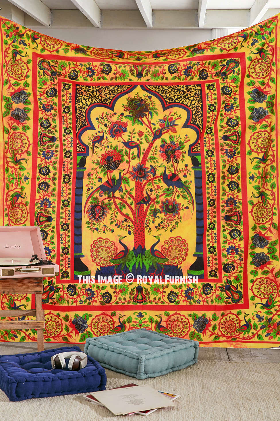 Multicolor Queen Size Indian Tree Of Life Hippie Wall