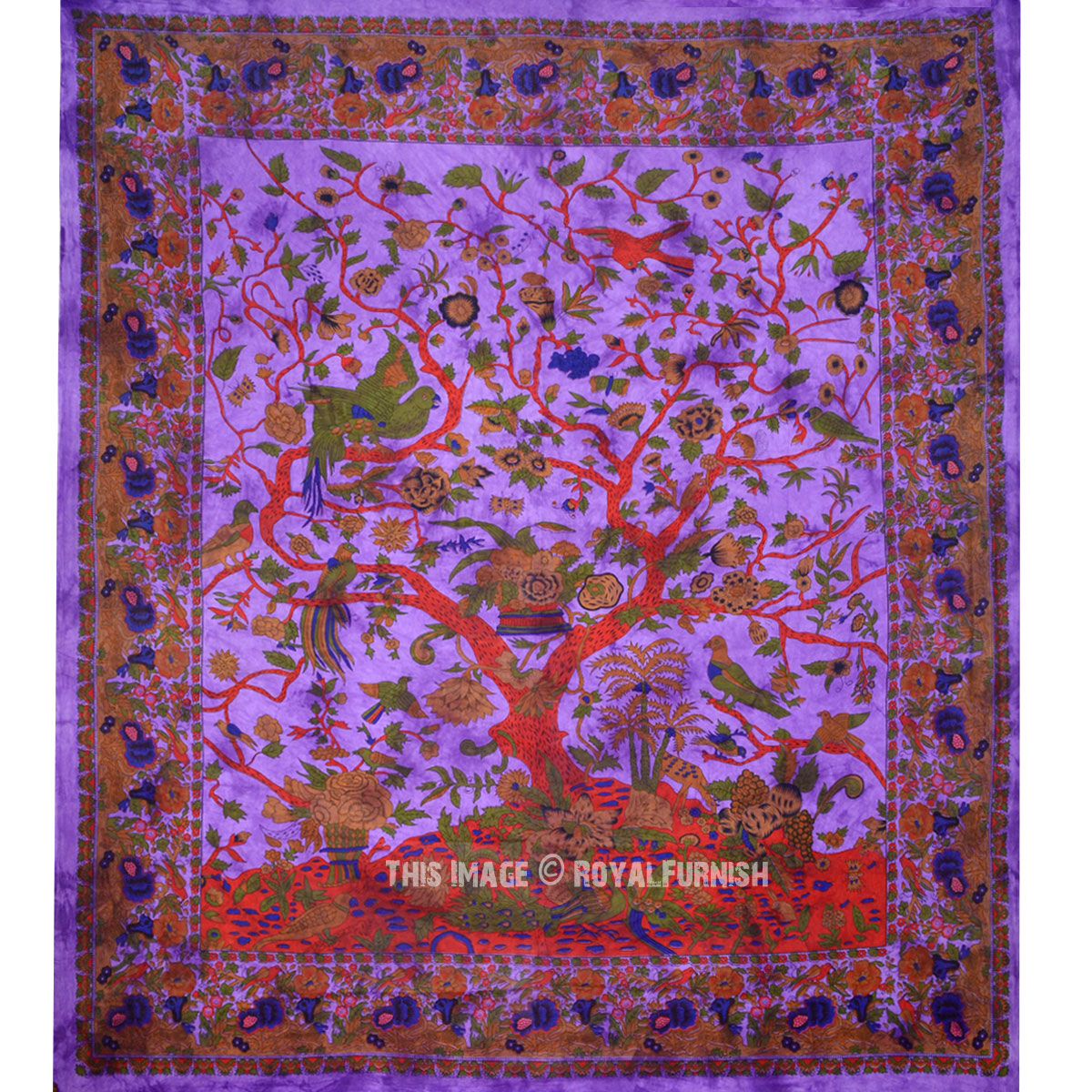 Purple Indian Tree Of Life Hippie Tie Dye Dorm Decor