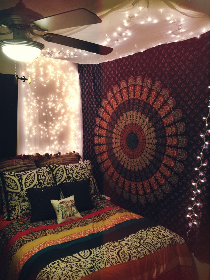 Multicolor indian mandala hippie boho dorm decor tapestry for Beautiful room decoration
