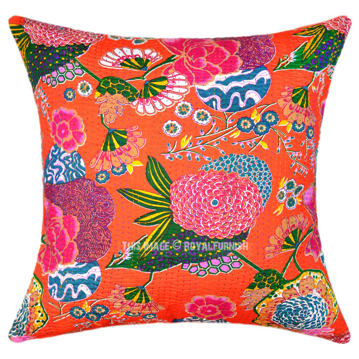"Couch Pillows: 24"" Oversized Large Orange Tropical Kantha Sofa Couch"