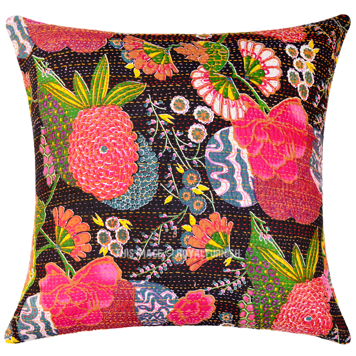 Giant large 24x24 decorative boho accent cotton kantha throw pillow cover - What is a throw pillow ...