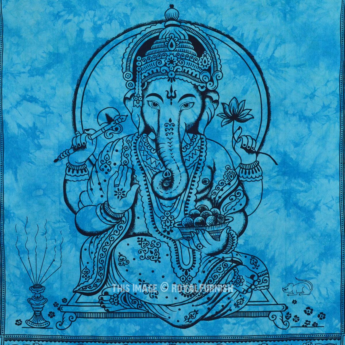 Blue Hindu Lord Ganesha Hindu Tie Dye Cotton Tapestry Wall