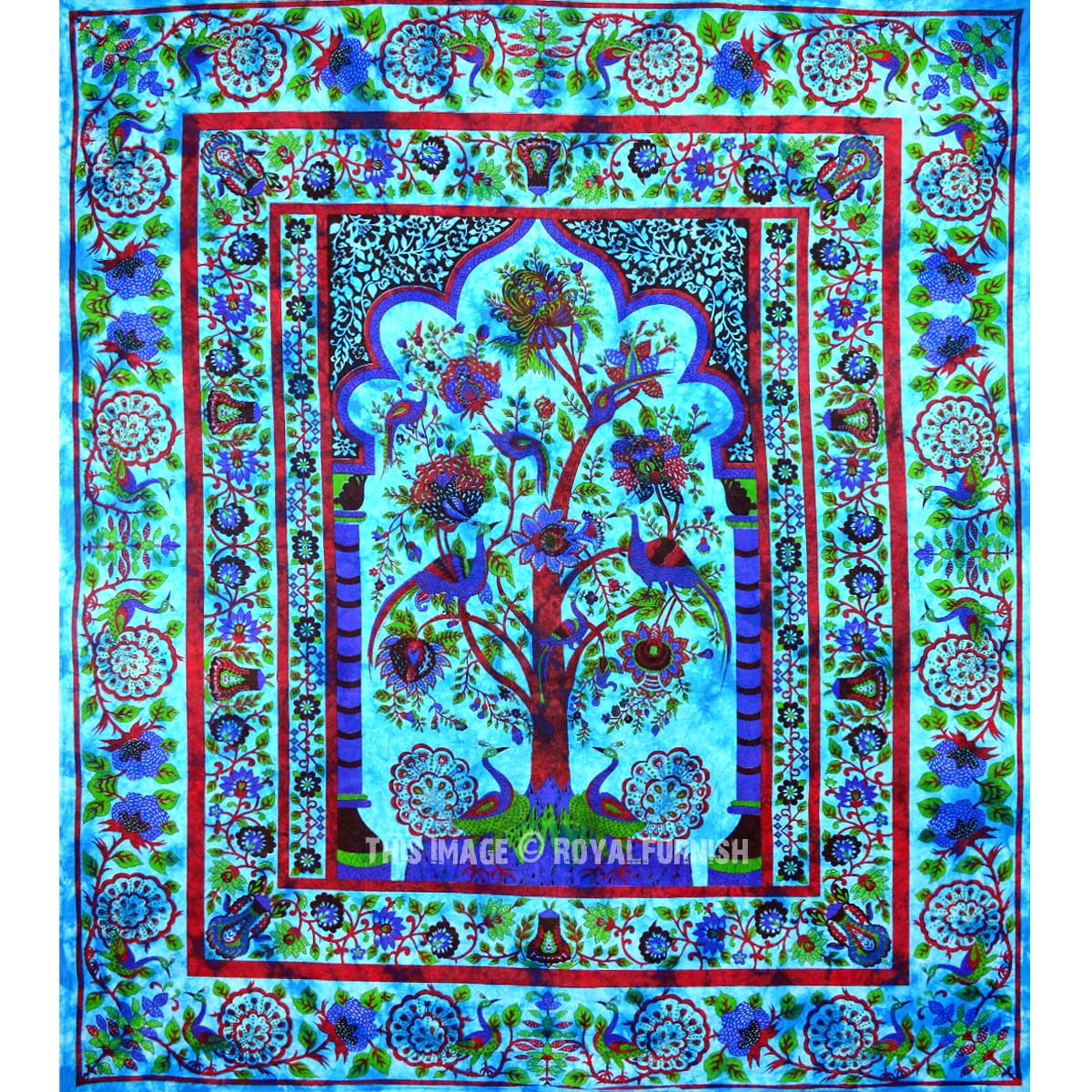 Turquoise Queen Tree Of Life Hippie Wall Tapestry Bedding