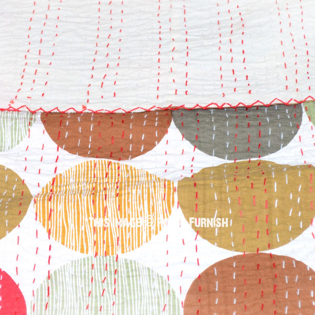 Queen Size Polka Dots Kantha Quilt Blanket Bedding