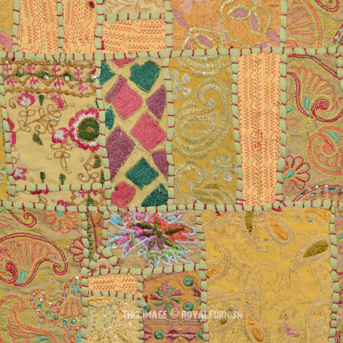 Green Vintage Fabric Patchwork And Embroidered India Wall