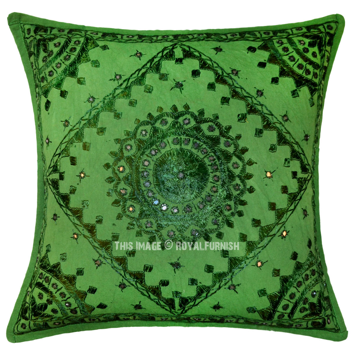 Green Mirror Embroidered Cotton Sofa Indian Throw Pillow - RoyalFurnish.com