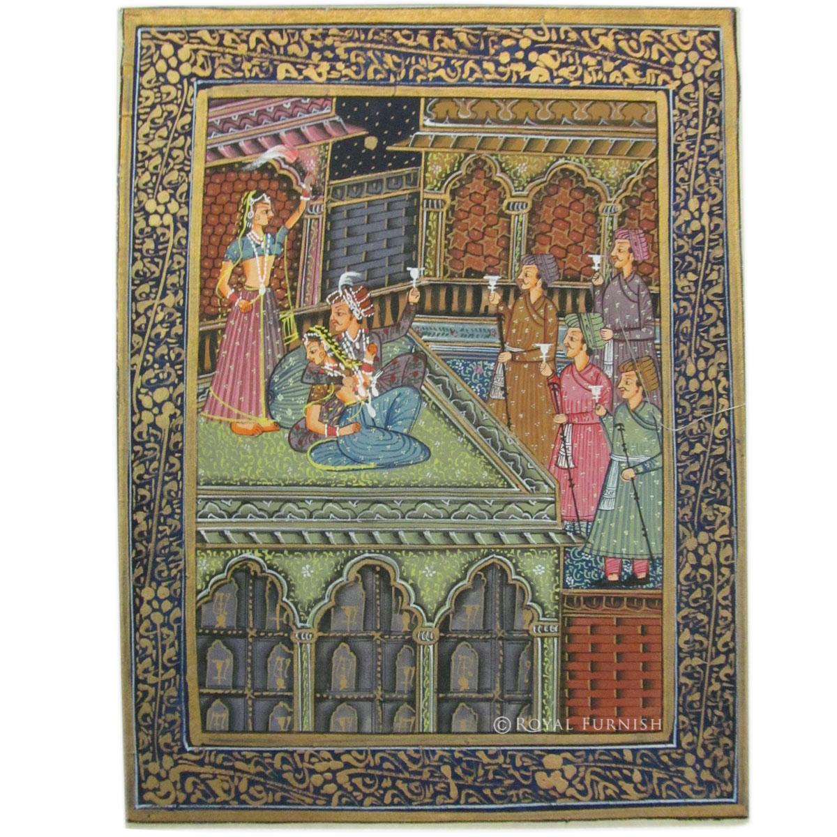 Indian Mughal King Love Scene Rajasthan Miniature Painting