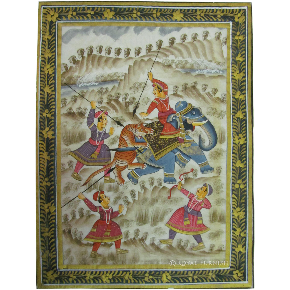 Rajasthani Mughal Miniature Painting Features Animals