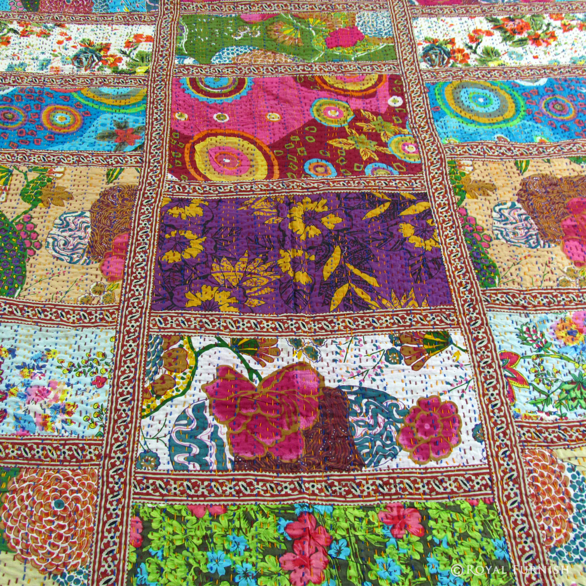 Queen Size Multicolor Patchwork Kantha Quilt Blanket