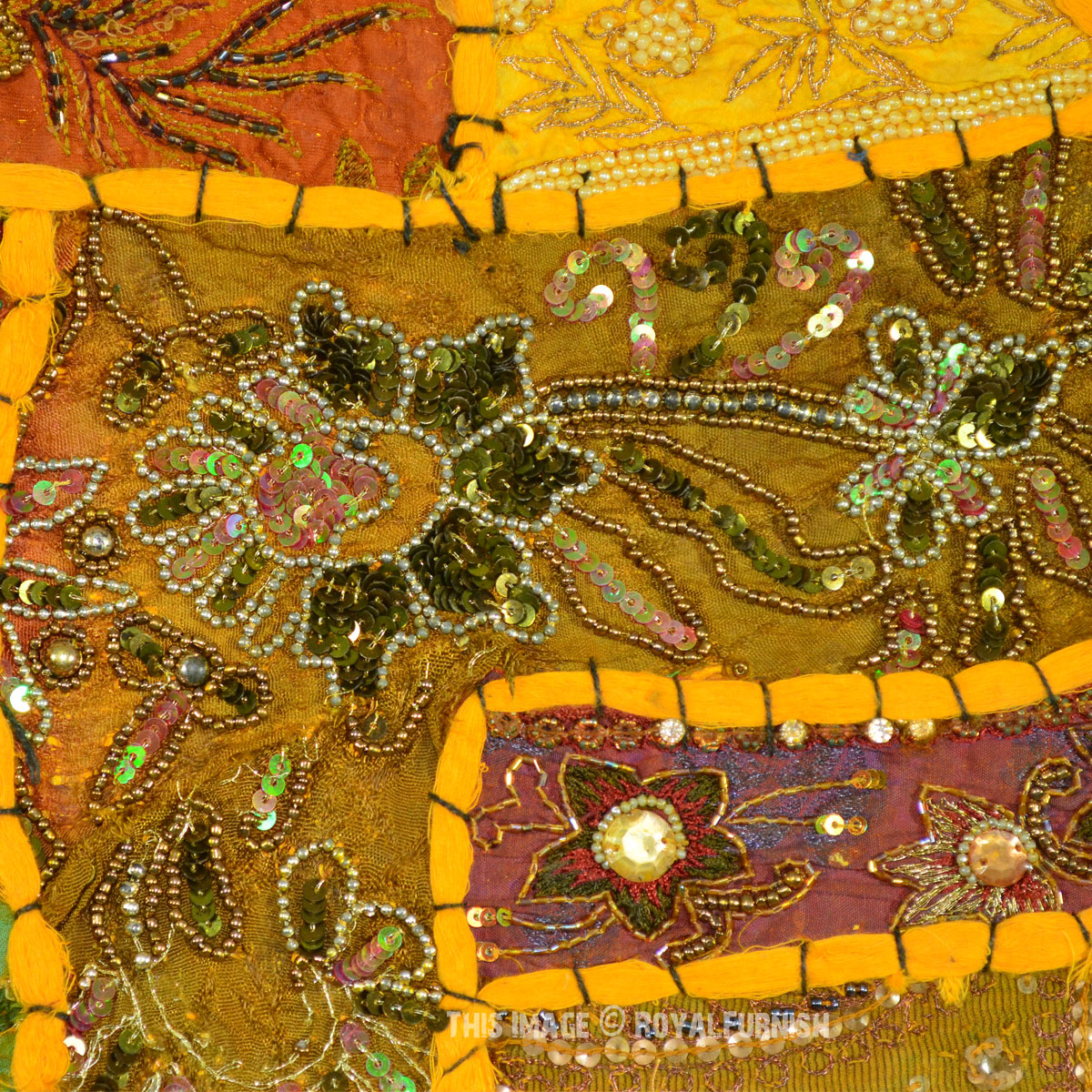 Yellow Expensive Heavy Beaded Indian Vintage Patchwork