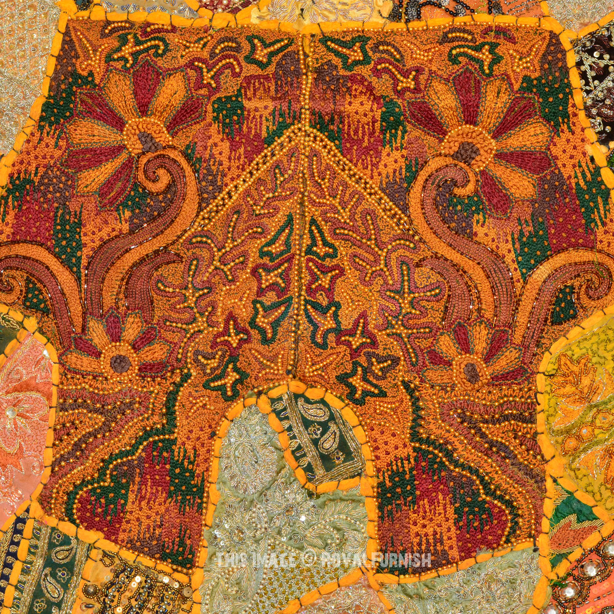 60x40 Quot Antique Vintage Heavy Bead Works Patchwork Tapestry
