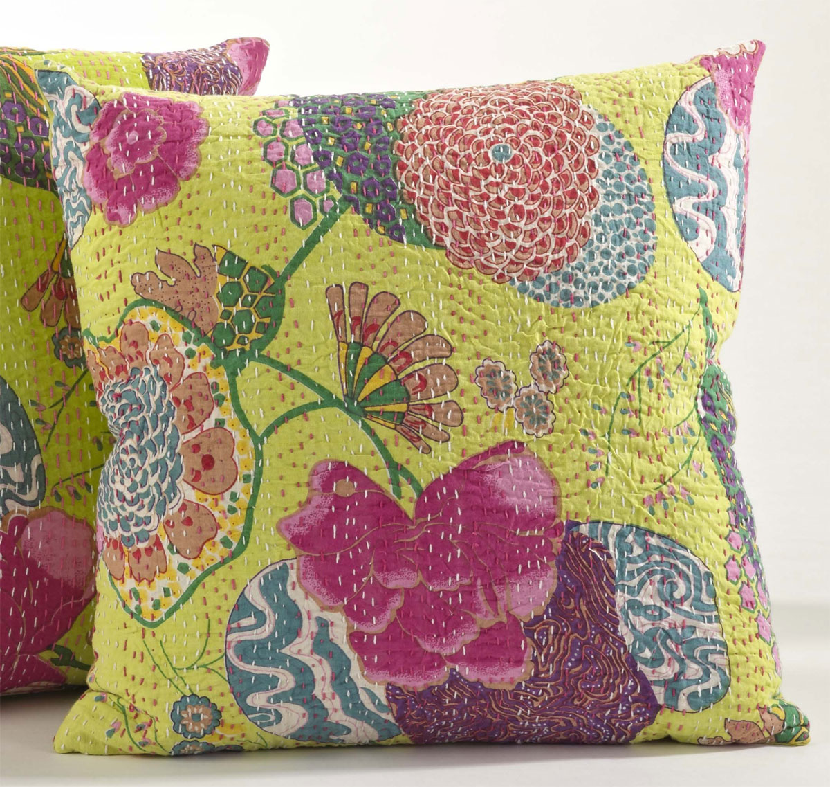 Beige Boho Look Kantha Art Work Decorative Cotton Pillow