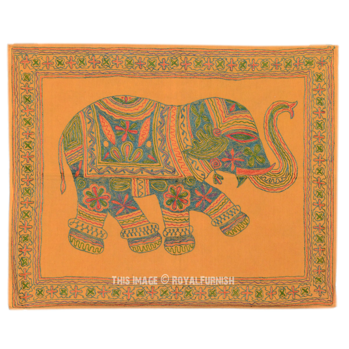 Indian Elephant Hand Embroidered Wall Hanging Tapestry