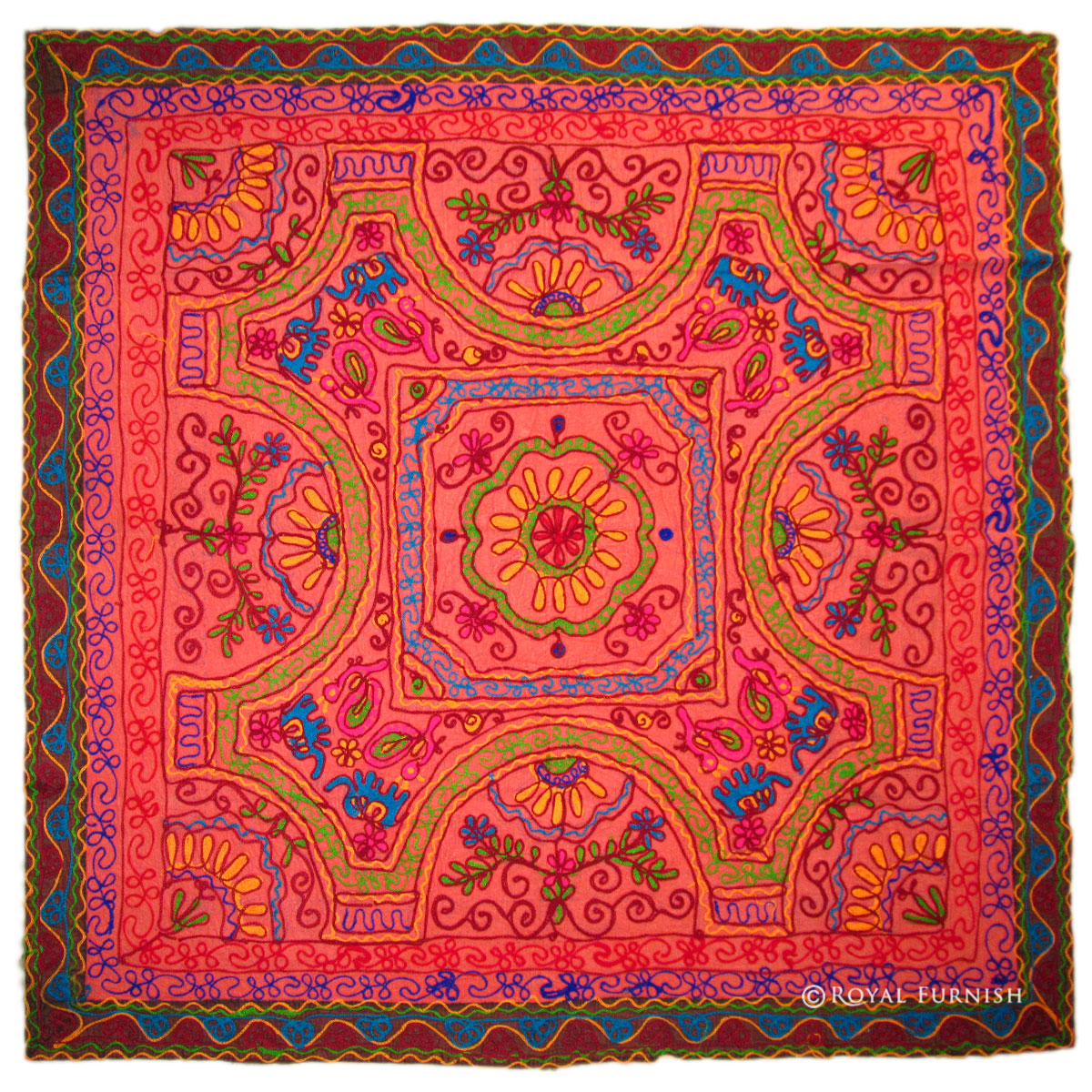 Red Indian Woolen Hand Embroidery Tapestry Wall Hanging