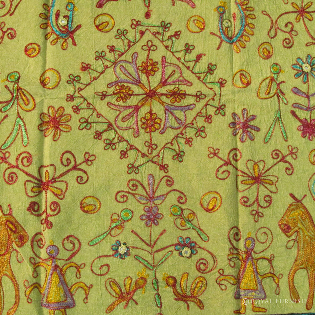 Hand Sewn Thread Embroidered Indian Cloth Wall Hanging Runner Decor ...
