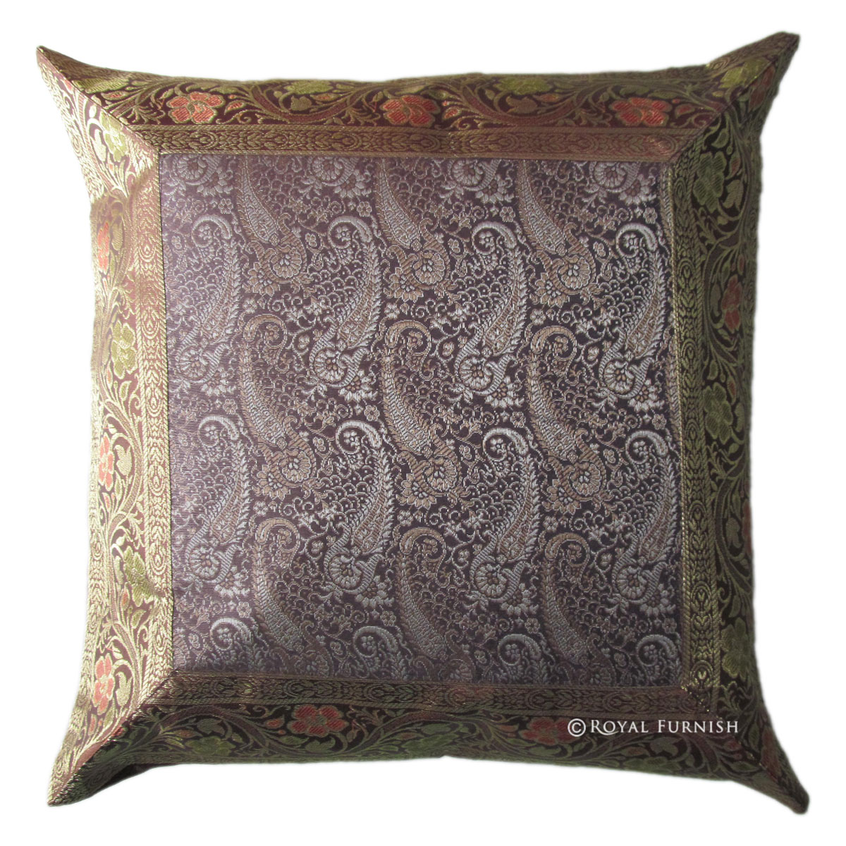 16 Quot Brown Floral Silk Brocade Throw Modern Pillow Case