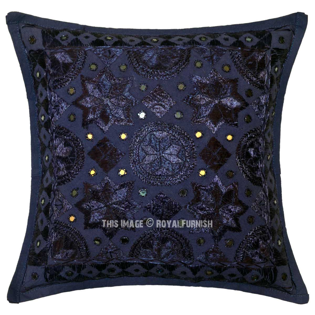 Blue Decorative Star Mirrored Unique Handmade Throw Pillow Case 16X16 - RoyalFurnish.com
