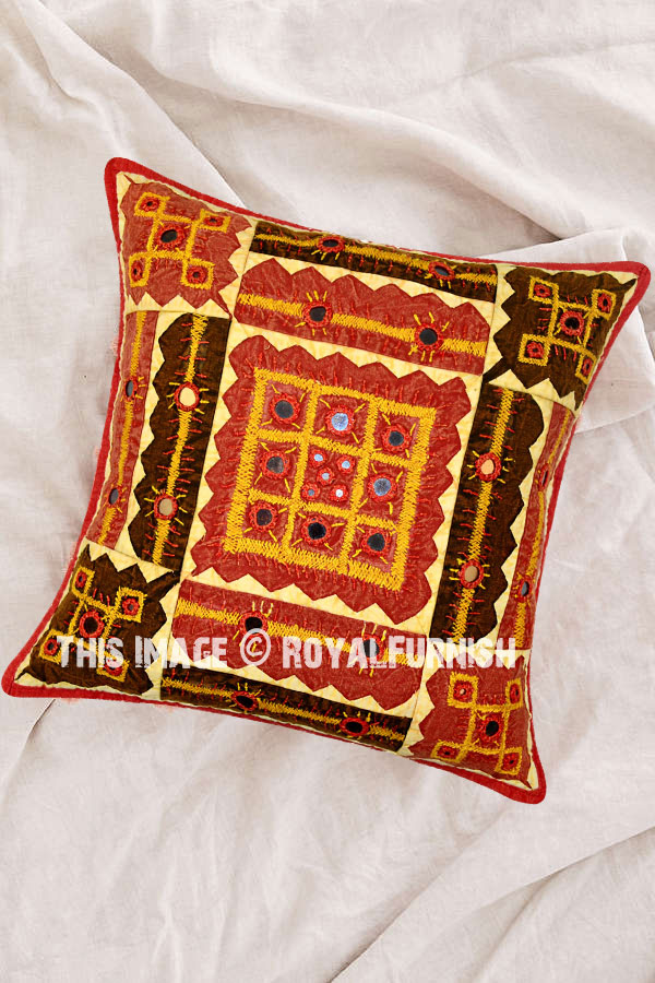 Red Indian Mirror Embroidered Decorative Accent Cotton Throw Pillow Case Sham - RoyalFurnish.com