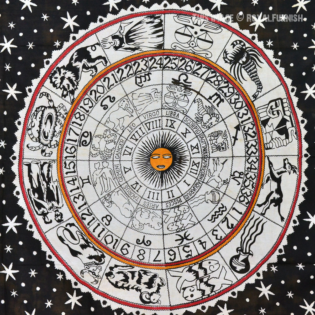 Black And White Astrology Zodiac Indian Tapestry Wall