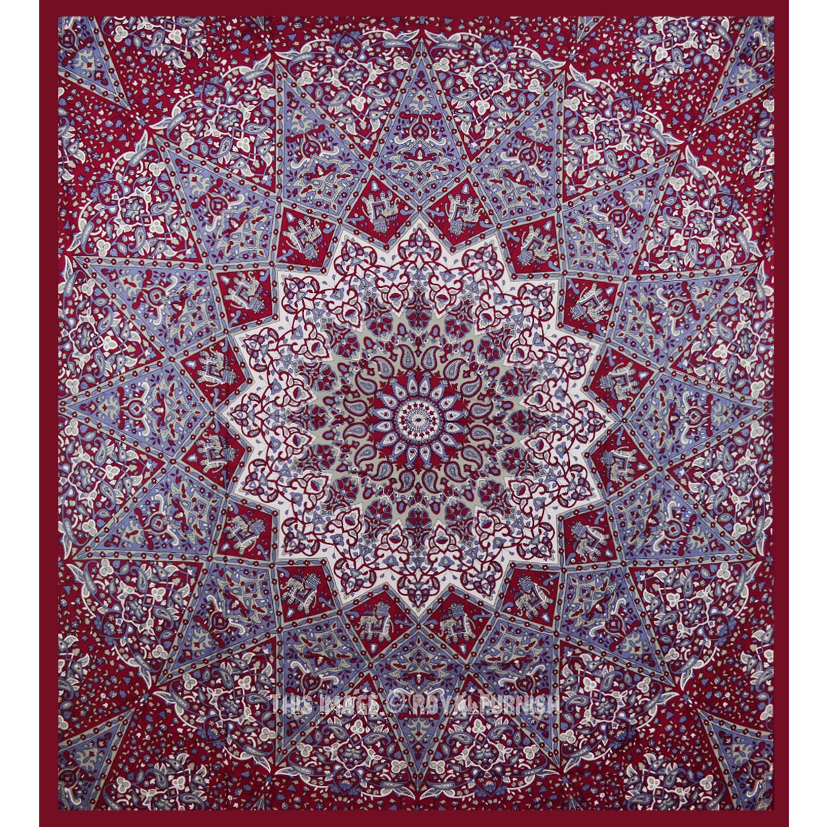 Maroon Indian Star Hippie Mandala Tapestry Wall Hanging