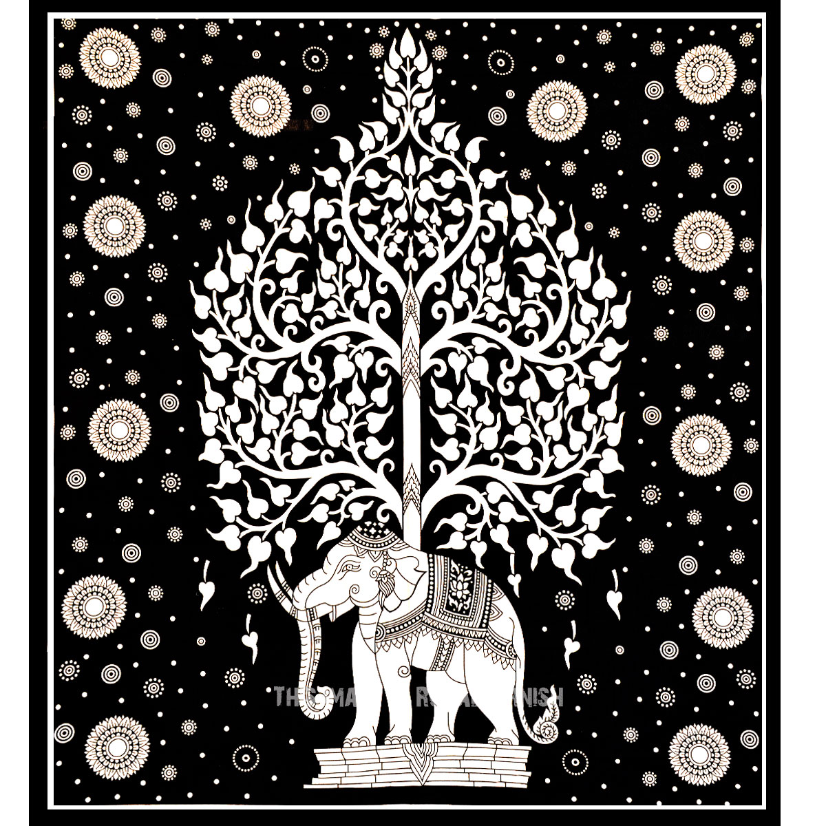 Black And White Elephant Tree Tapestry Wall Hanging Indian Cotton Sheet