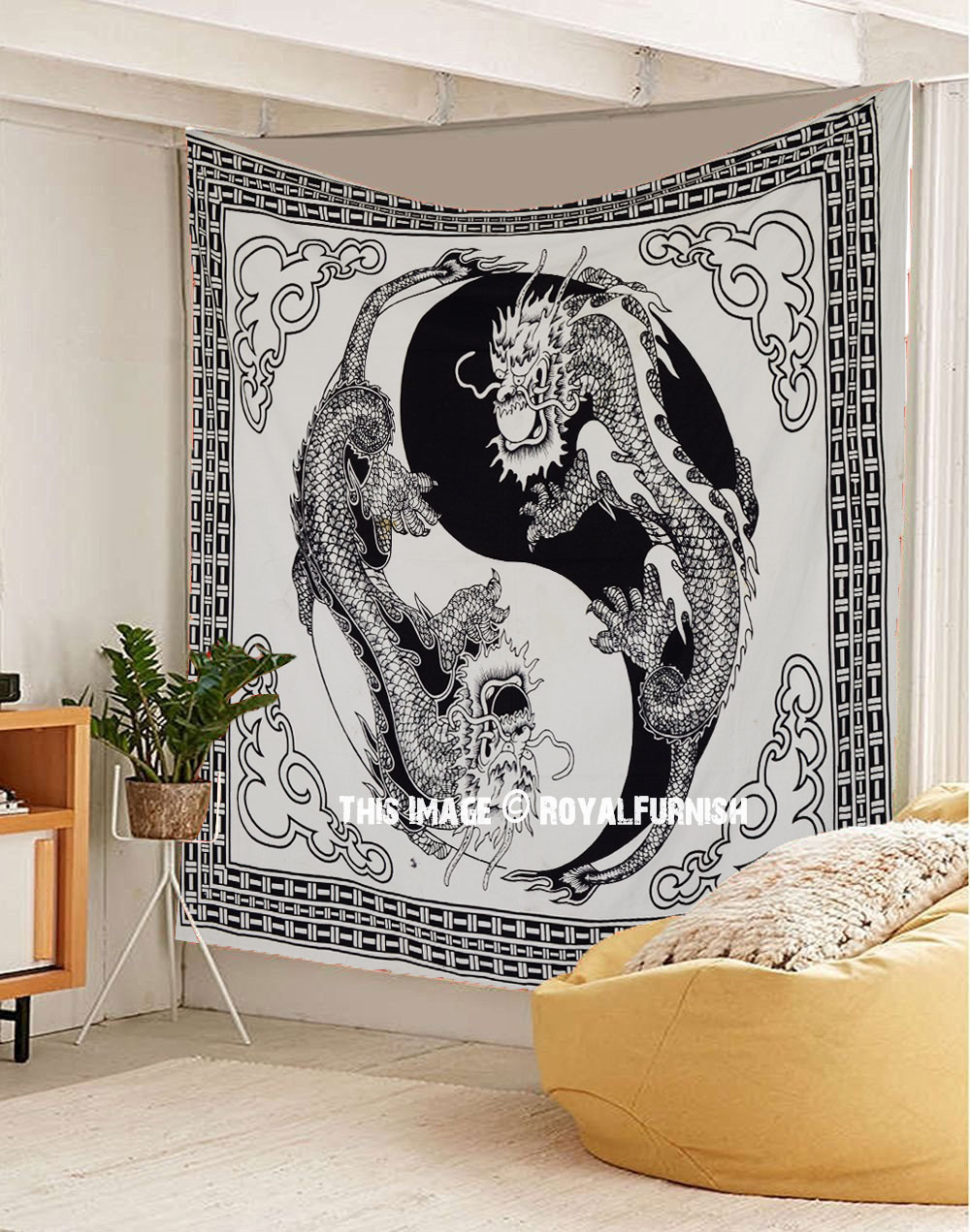 Black And White Yin Yang Chinese Dragon Fly Tapestry Wall