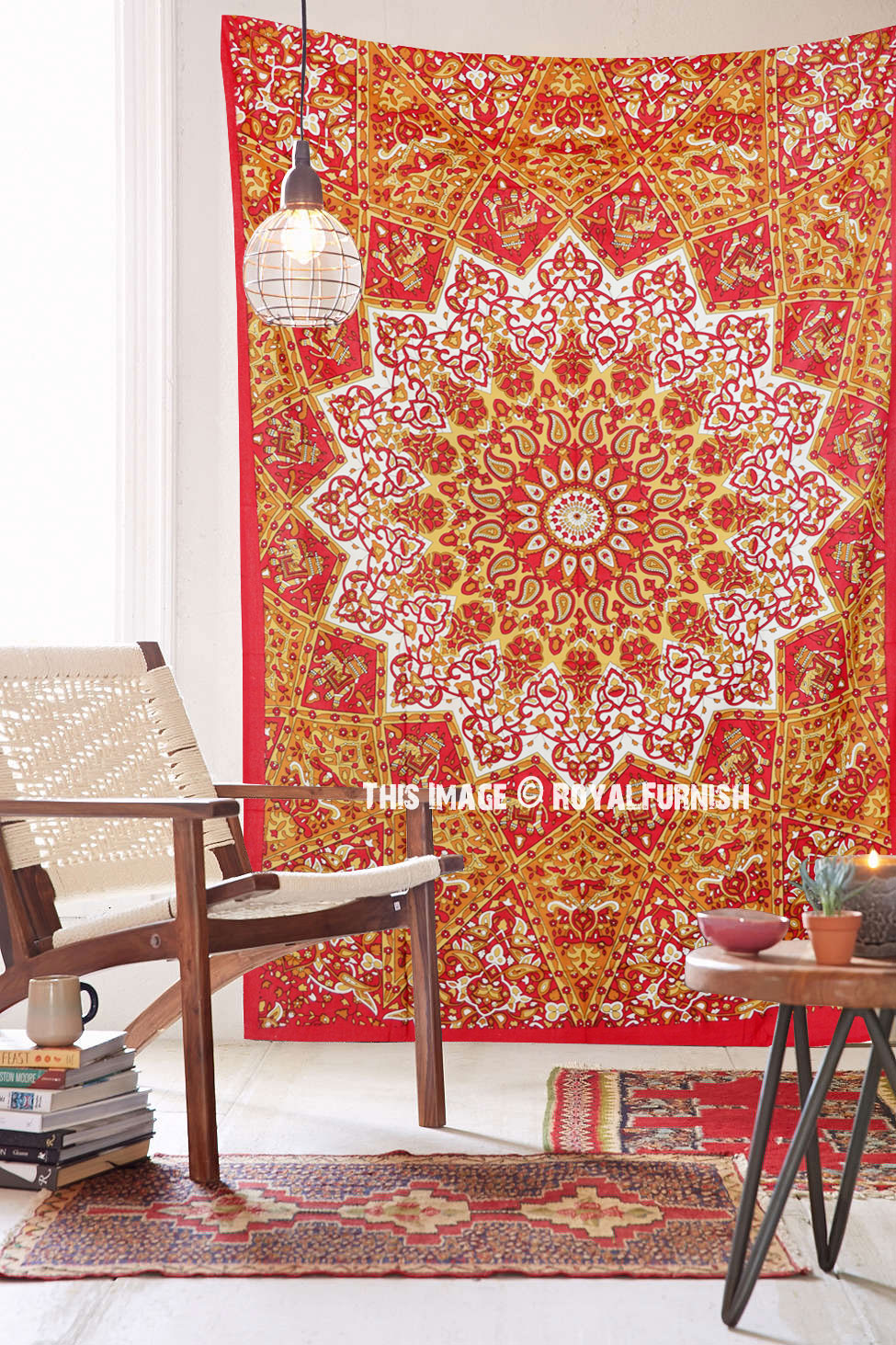 Red Twin Indian Star Print Hippie Dorm Decor Tapestry Wall ...