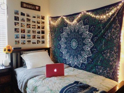 Blue White Twin Indian Star Mandala Hippie Dorm Decor Tapestry Wall Hanging Art