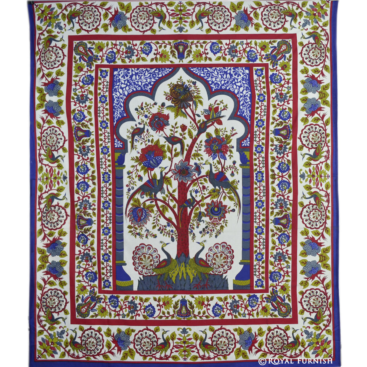 White tree of life dorm room decor hippie tapestry wall - Wall hangings for bedroom ...