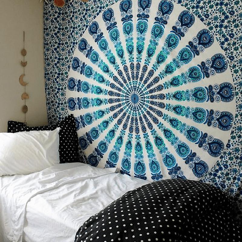 White Amp Blue Floral Indian Mandala Dorm Amp Bedroom Hippie