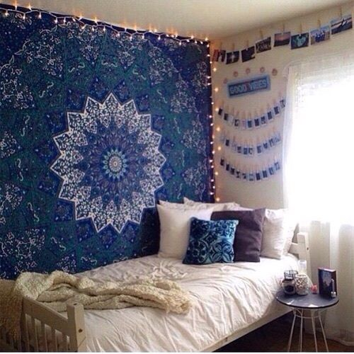 Blue star mandala dorm decor hippie tapestry wall hanging for Room decor ideas tapestry