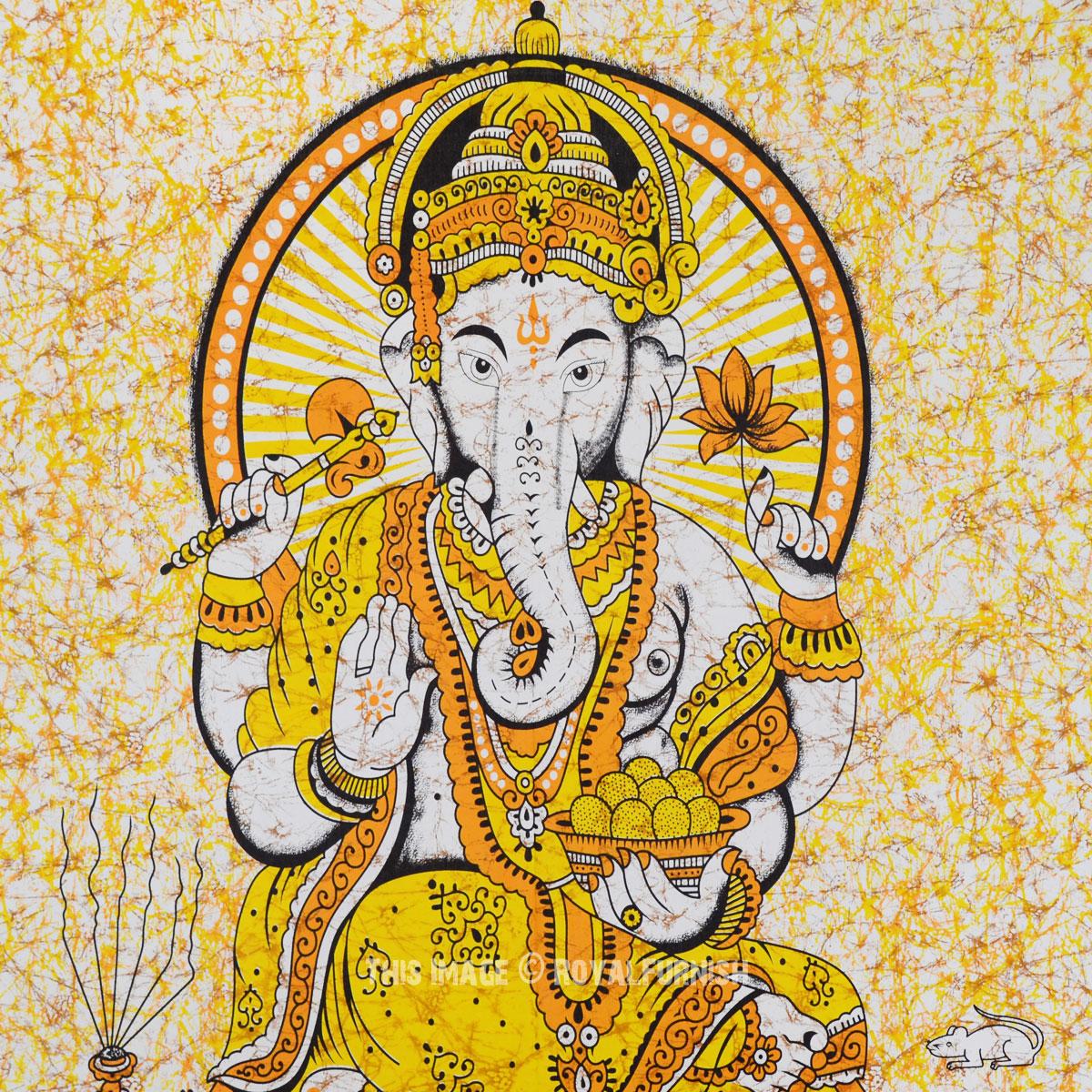 Yellow Hindu Elephant God Ganesha Batik Tapestry Wall Hanging