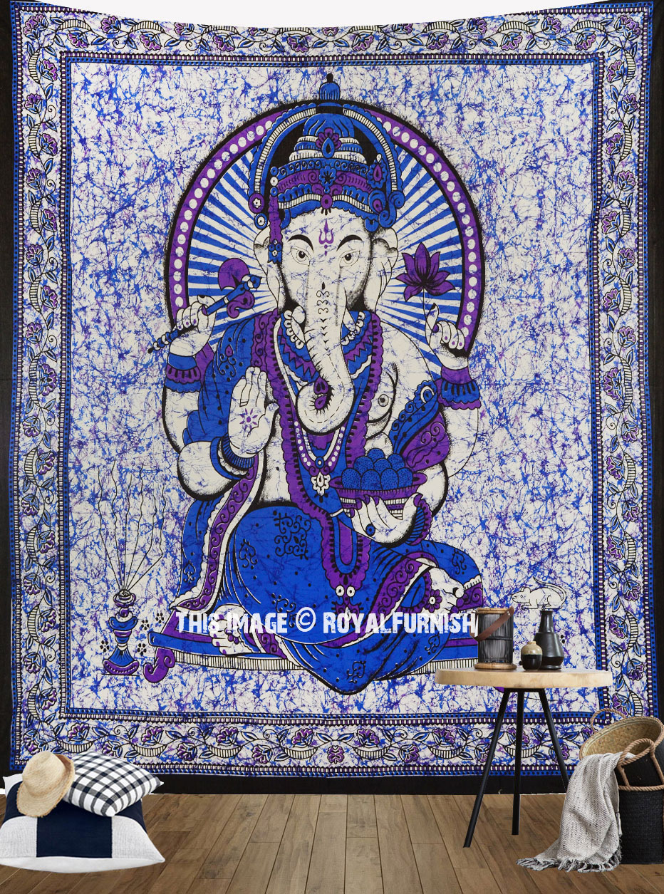 Purple Hindu God Ganesha Cotton Batik Tapestry Wall