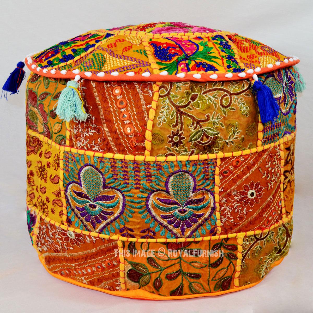 Orange Vintage Handmade Patchwork Round Ottoman Footstool