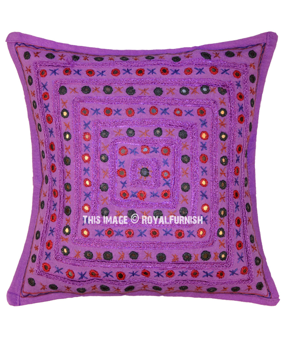 24 Purple Decorative Accent Indian Mirrored Throw Pillow Cover Royalfurnish