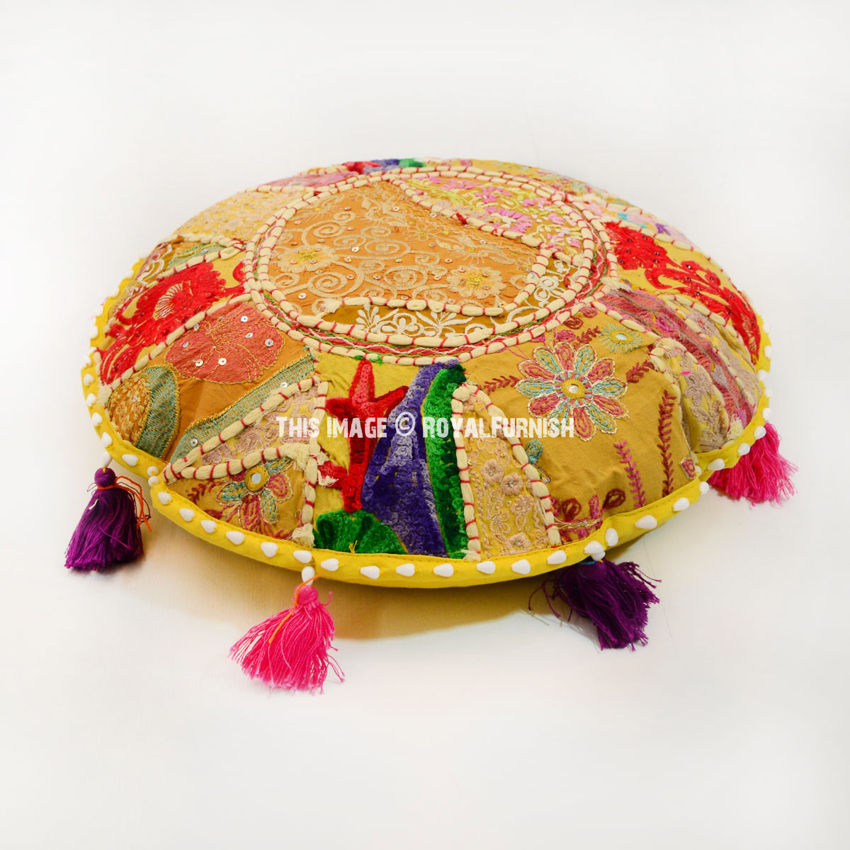 Yellow Handmade Patchwork Round Yoga Meditation Floor ...