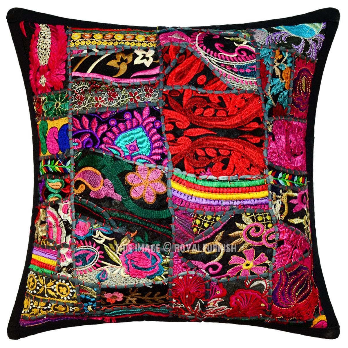Black Outdoor/Indoor Bohemian Patchwork Throw Pillow Cover 16X16 - RoyalFurnish.com