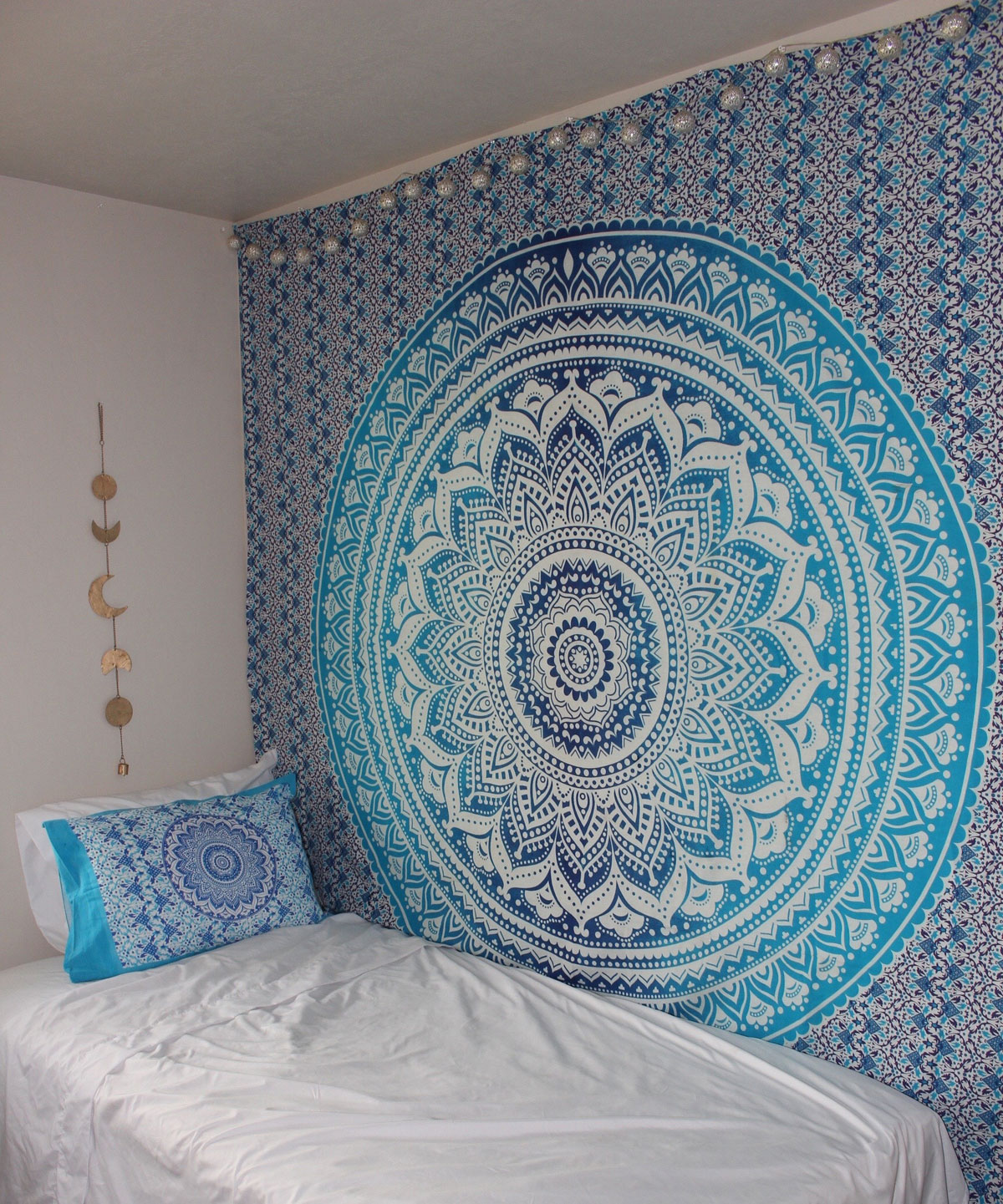 Blue multi indian ombre mandala wall tapestry hippie for Space themed tapestry