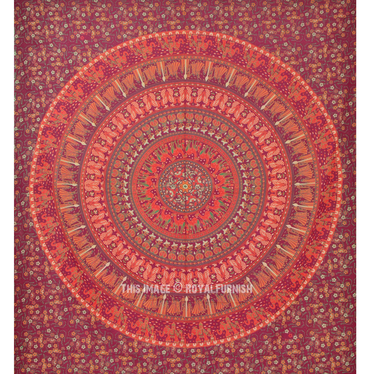 Large Maroon Animal Birds Boho Style Mandala Circle