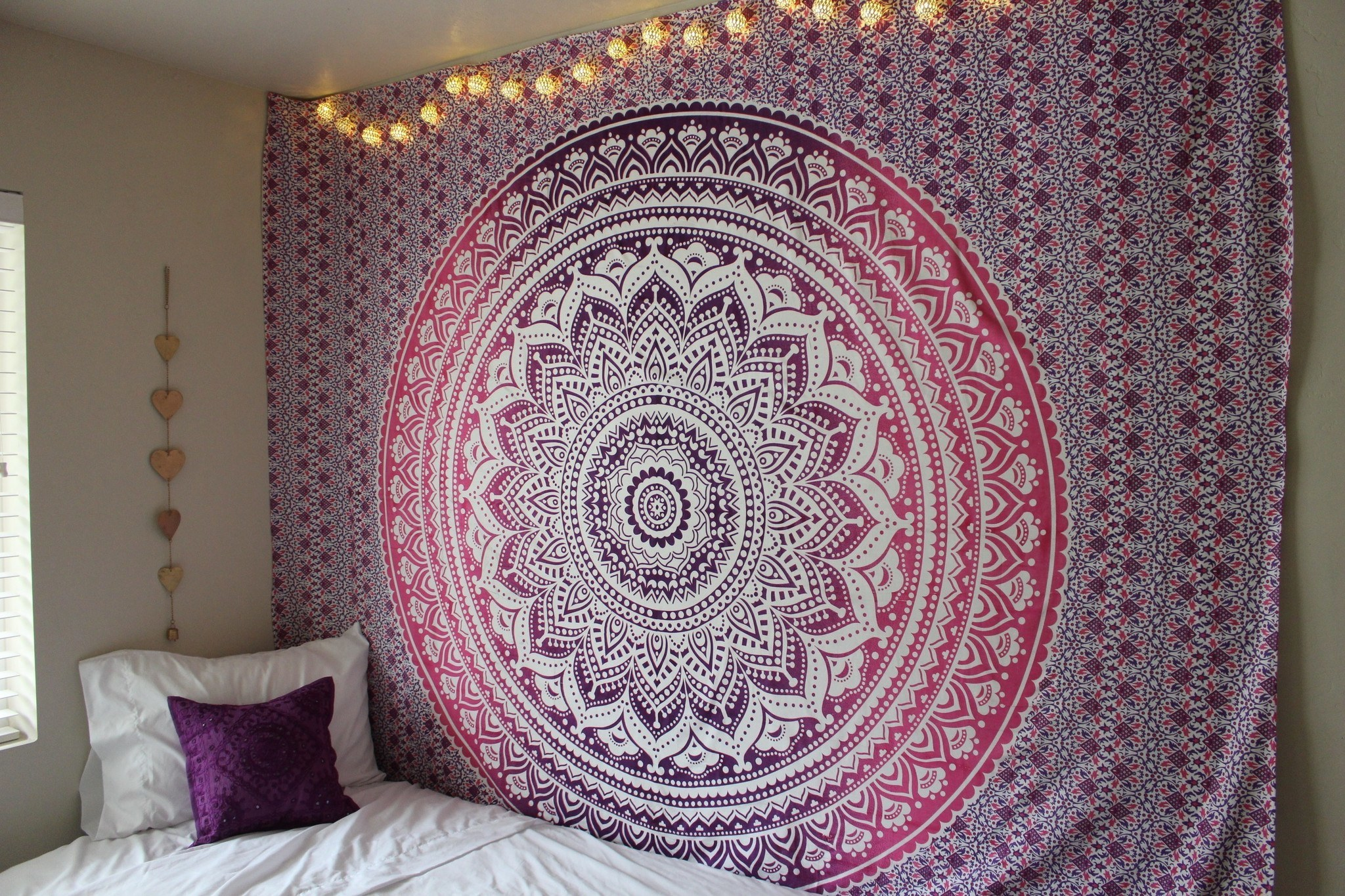 Small Window Curtain Ideas Purple Ombre Mandala Cotton Wall Tapestry Bedding