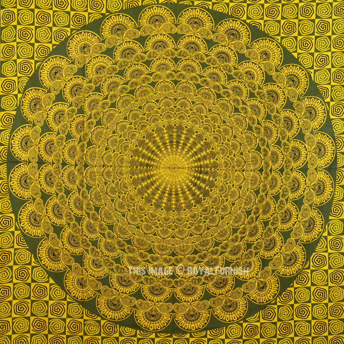 Twin Yellow Peacock Wings Wall Tapestry Hippie Bedding