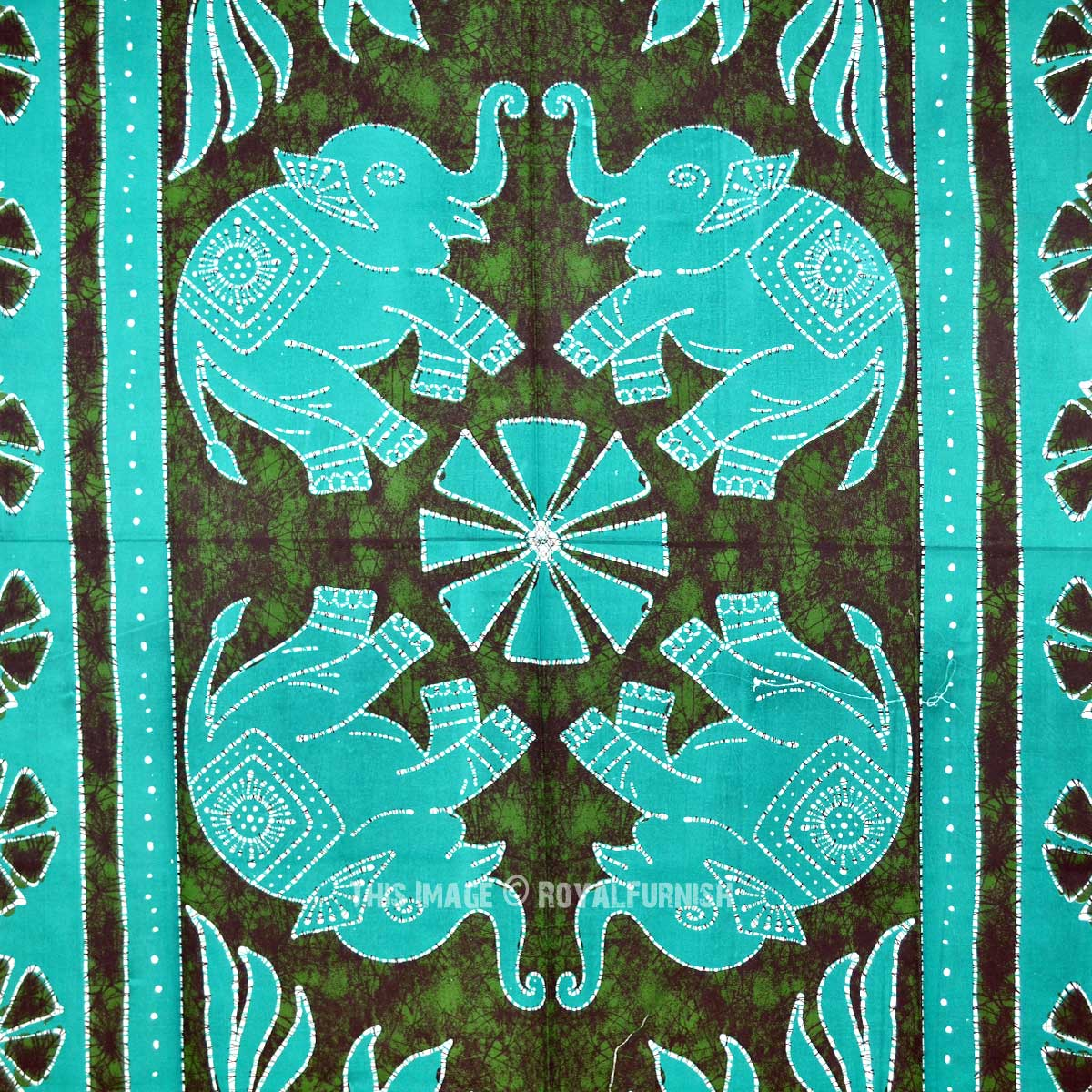 Small Green Four Elephants Batik Tapestry Wall Hanging