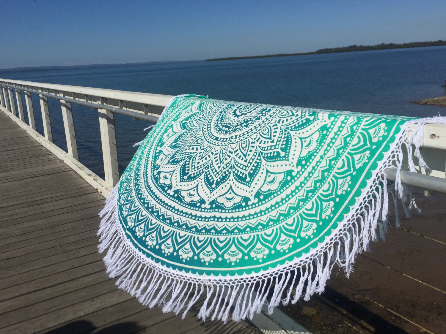 White Amp Sea Green Ombre Round Beach Towel Mandala Roundie