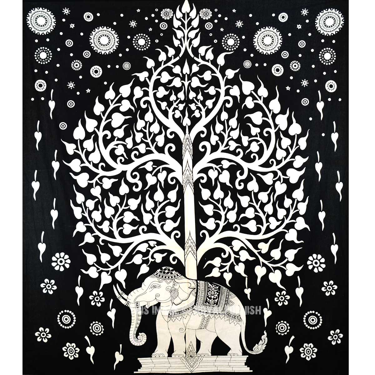 Black And White Royal Elephant Under Tree Tapestry Indian