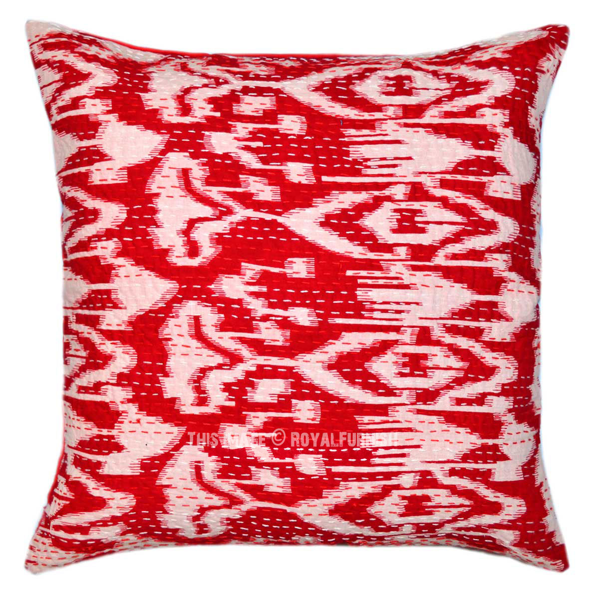 Decorative Pillow Cover Mcqueen Red Multi : 20X20 Red Multi ZigZag Decorative IKat Kantha Throw Pillow Cover - RoyalFurnish.com