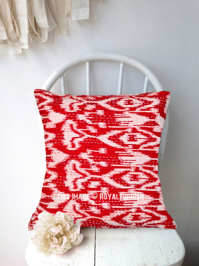 20X20 Red Multi ZigZag Decorative IKat Kantha Throw Pillow Cover - RoyalFurnish.com
