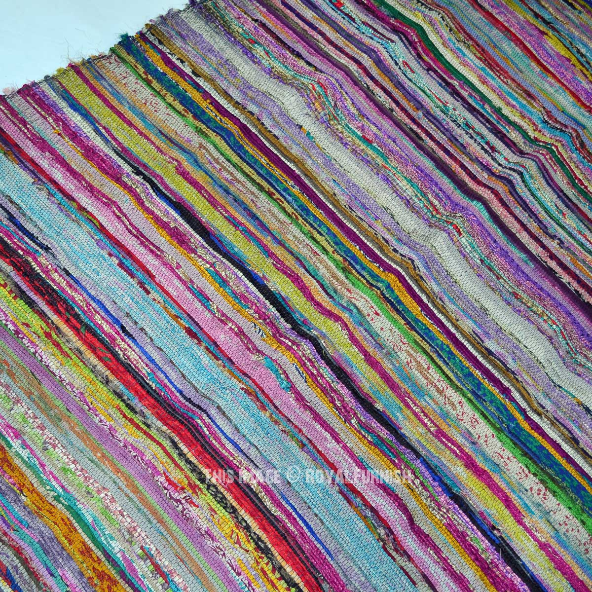 Recycled Hand Woven Cotton Chindi Rag Rug 3 X6 Ft