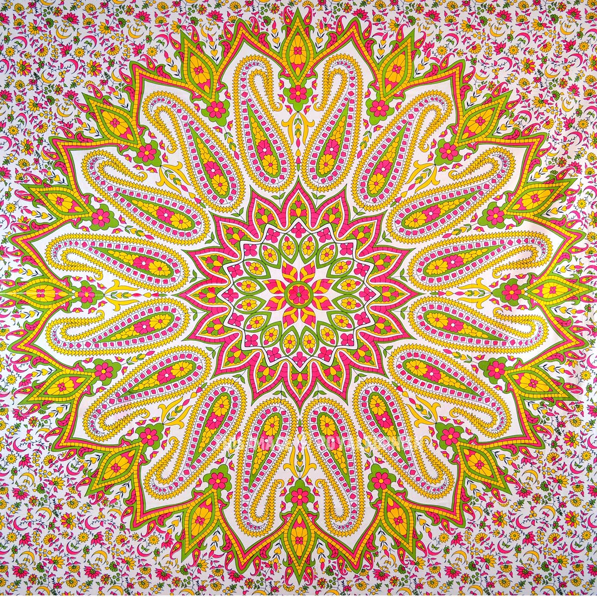 Colorful Paisley Medallion Circle Mandala Cotton Tapestry